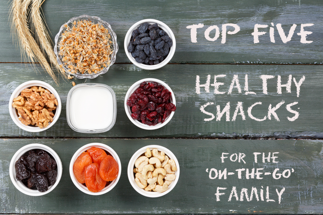 top five healthy snacks picture with nuts and dried fruits 2