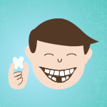 boy holding a fallen out tooth character photo 2