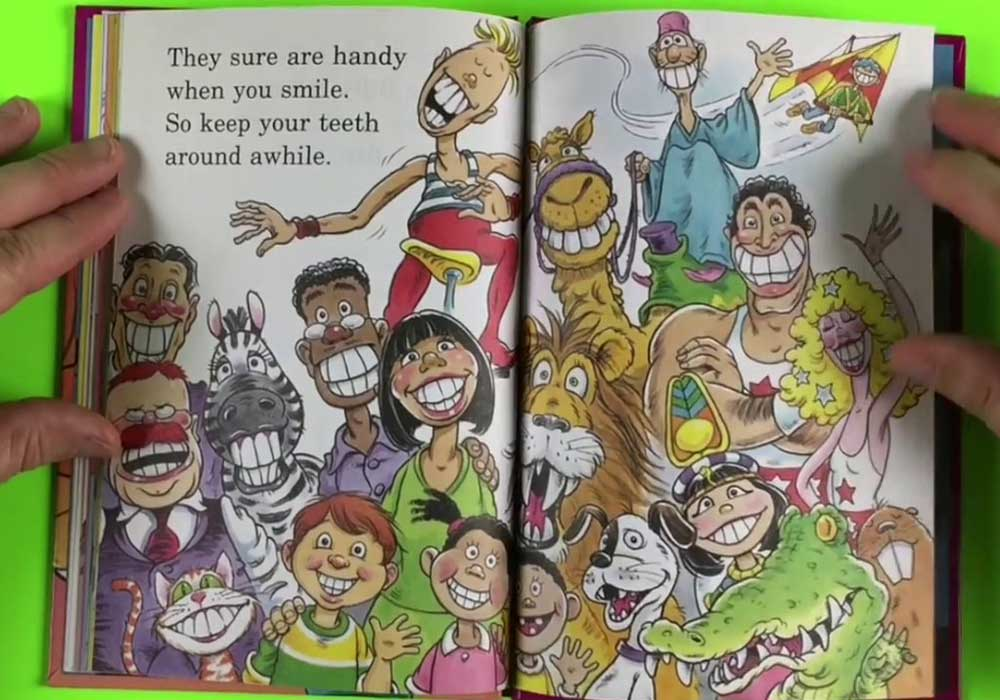 Pages inside a funny book about teeth