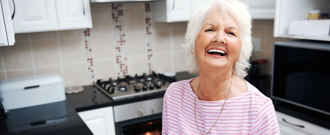 photo of senior woman in her kitchen