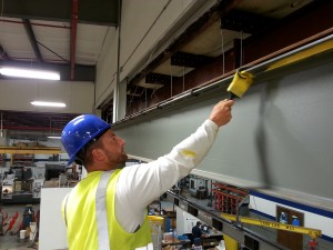Painting of commercial structural steel in a manufacturing facility. #simpsonvilleSC #1800painting #greenvillepainters