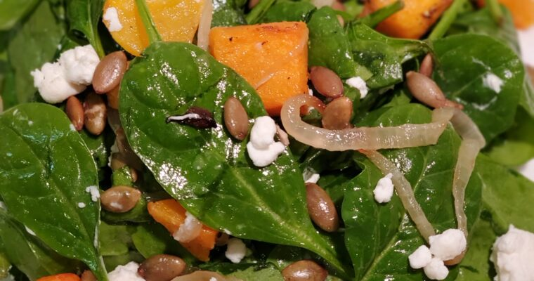 Spinach, Butternut Squash, & Carmelized Onion Salad
