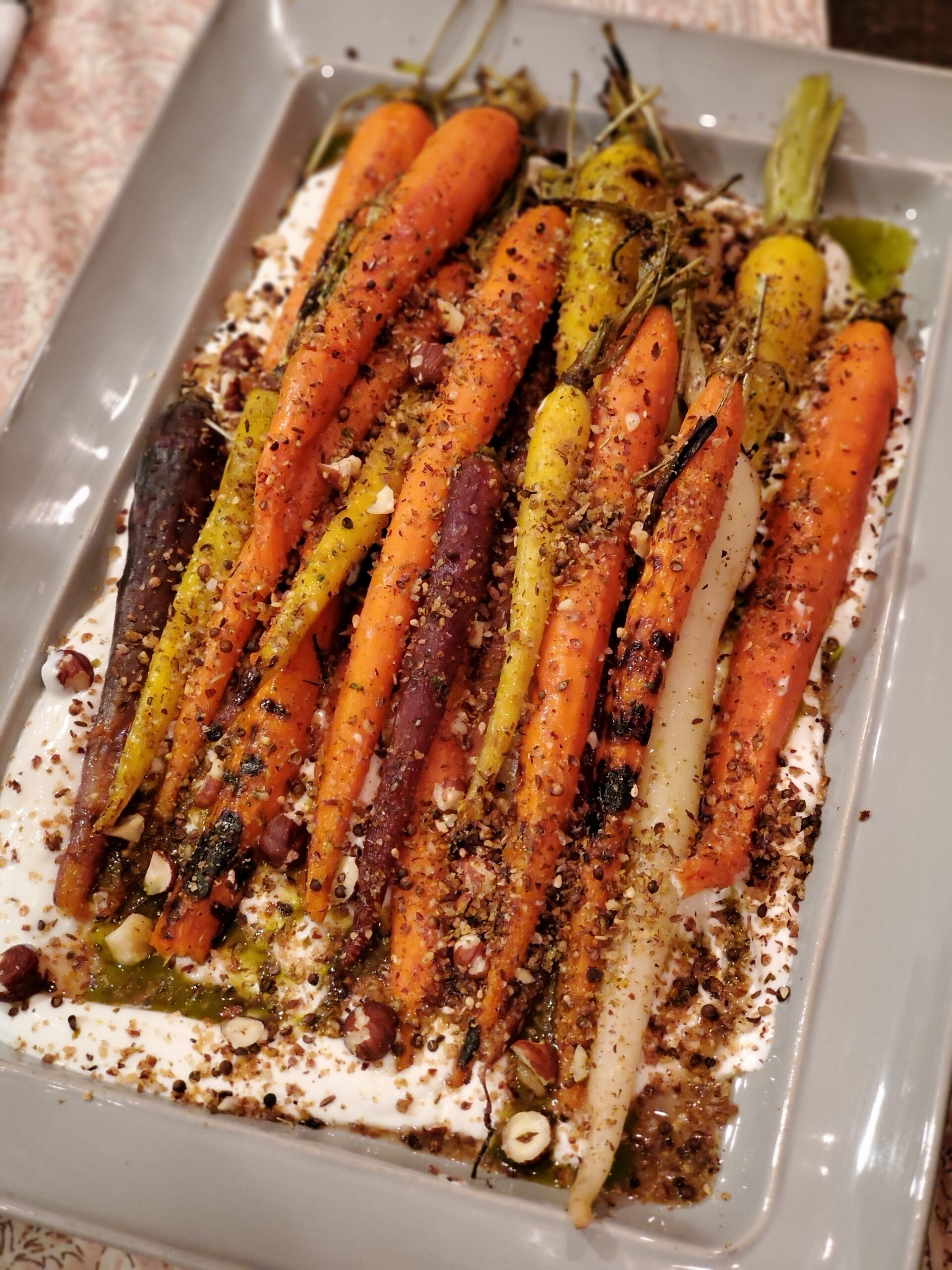 Grilled Carrots With Yogurt, Carrot-Top Oil and Dukkah