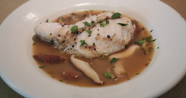 roasted monkfish with porcini mushrooms & fava beans