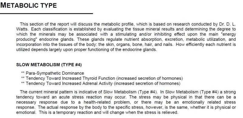 BNA HTMA Metabolic Type