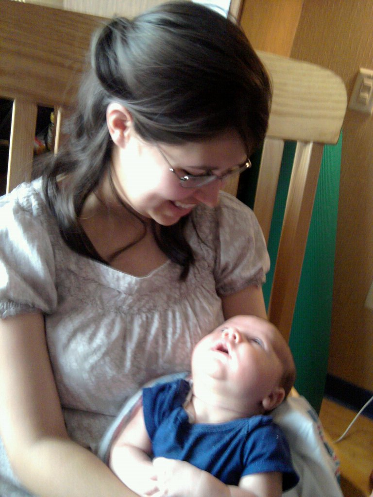 Maegan in the hospital with her son when he had bacterial meningitis