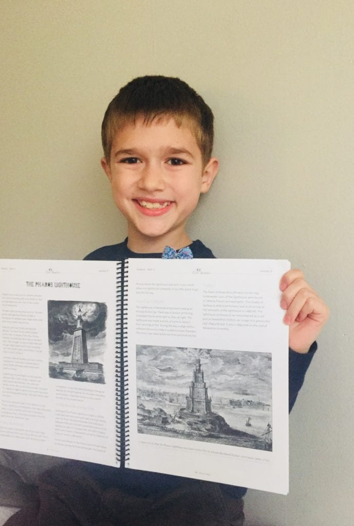 Joseph Michael loved learning about the Pharos Lighthouse in The Good and the Beautiful History
