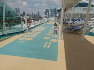 Playing on the top deck of the cruise ship