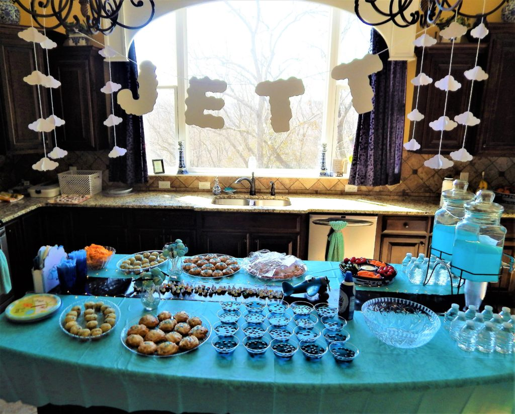 airplane baby shower serving table