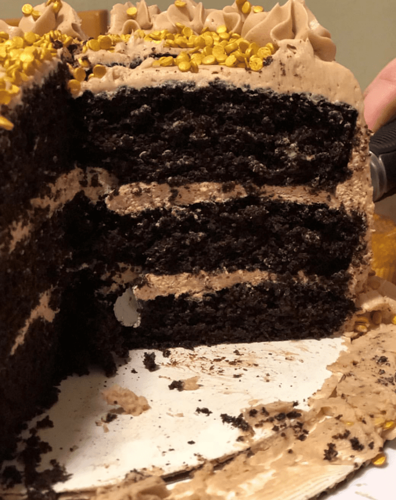 inside of first homemade cake