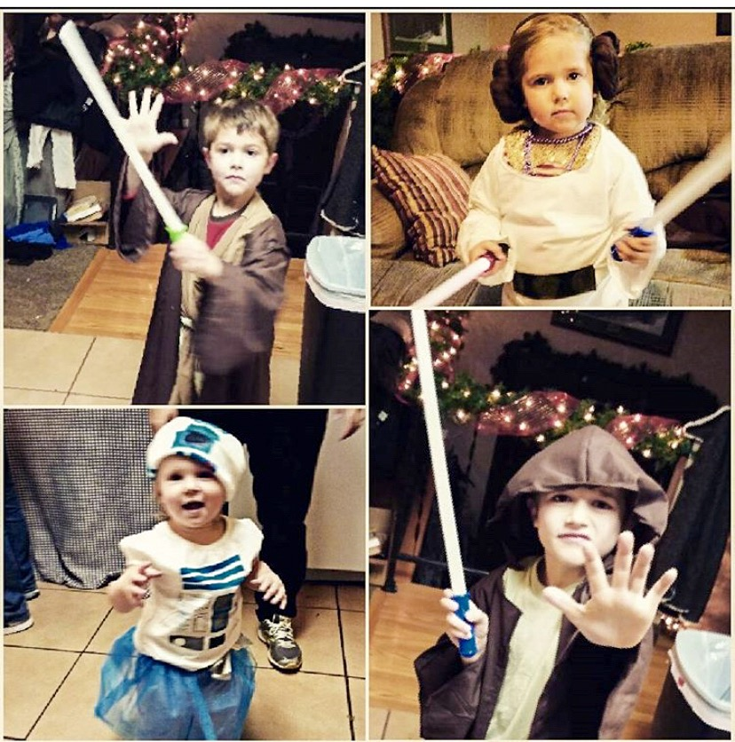 Handmade Star Wars costumes for a Star Wars Party: Two Padawan, R2D2 and Princess Leia