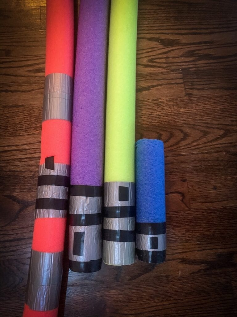 Baby Pool Noodle Lightsabers for a Star Wars Party