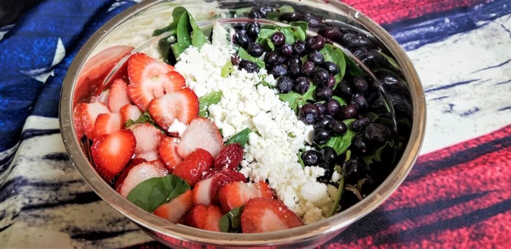 Red White and Blue Salad with Strawberries, Feta Cheese, Spinach, and Blueberries