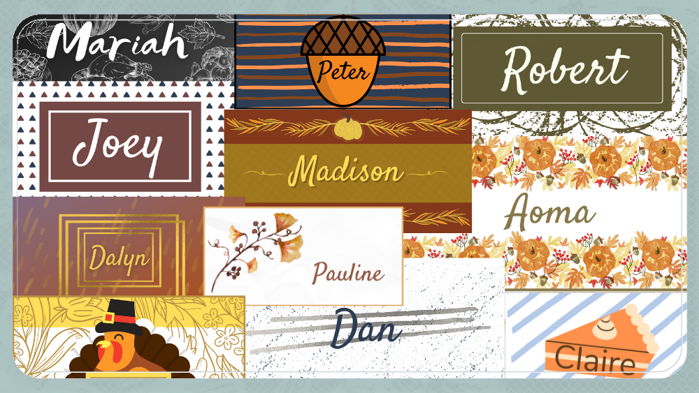 FREE Printable Thanksgiving Name Cards