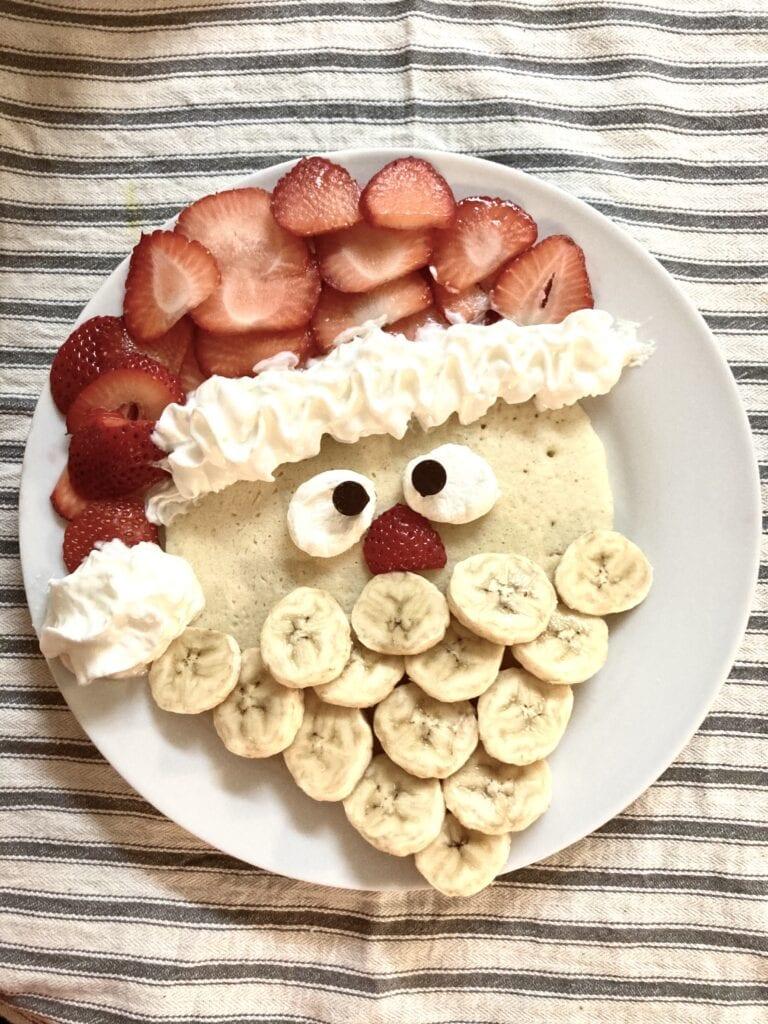 Pancake decorated to look like Santa