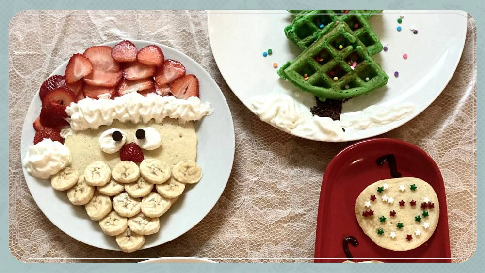 Christmas pancakes on plates
