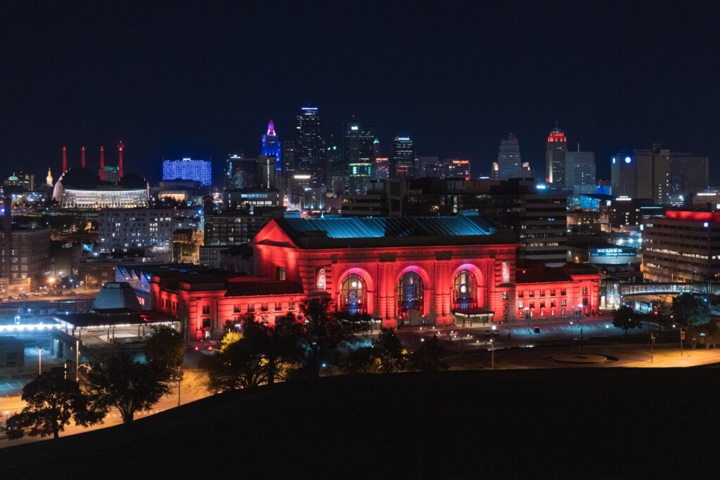 downtown Kansas City Union Station lit up