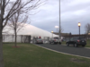 Husky Dome in the midst of deflation on April 24. Photo courtesy of Tony Langfellow.