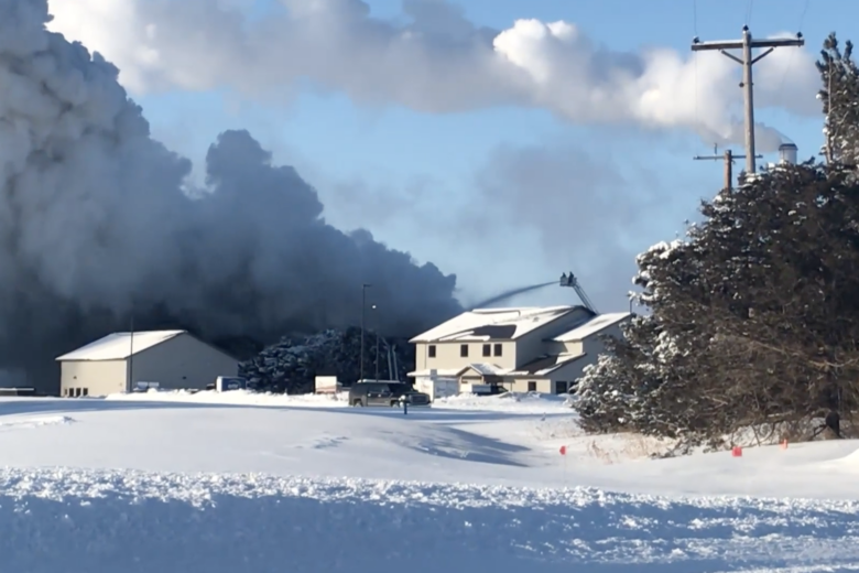 Becker recycling plant fire continues to burn