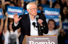 Bernie Sanders speaks at a campaign rally.