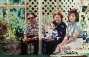 Left to right: Dad, Grandmother holding Joseph Assali, Mom