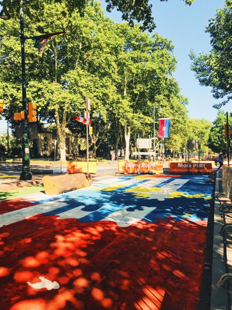 Colorful street mural at The Oval+