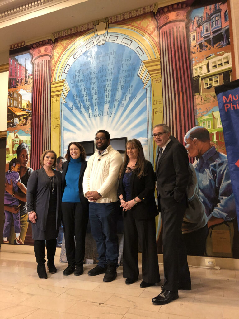 "James ""Yaya"" Hough with Joanna Otero-Cruz, Deputy Managing Director for Community Services; Jane Golden, Executive Director of Mural Arts Philadelphia; Miriam Krinsky, Executive Director of Fair and Just Prosecution and Larry Krasner, District Attorney of Philadelphia"