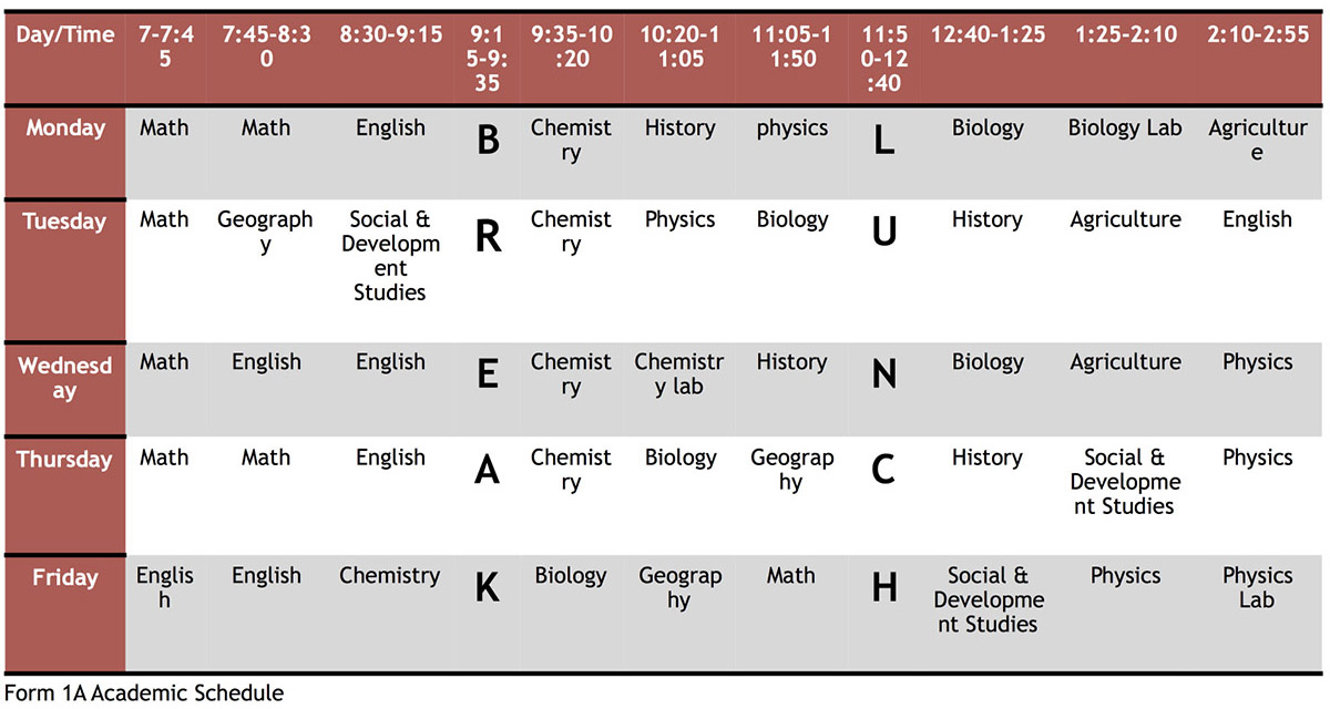 Wasambo HS Form 1A Academic Schedule