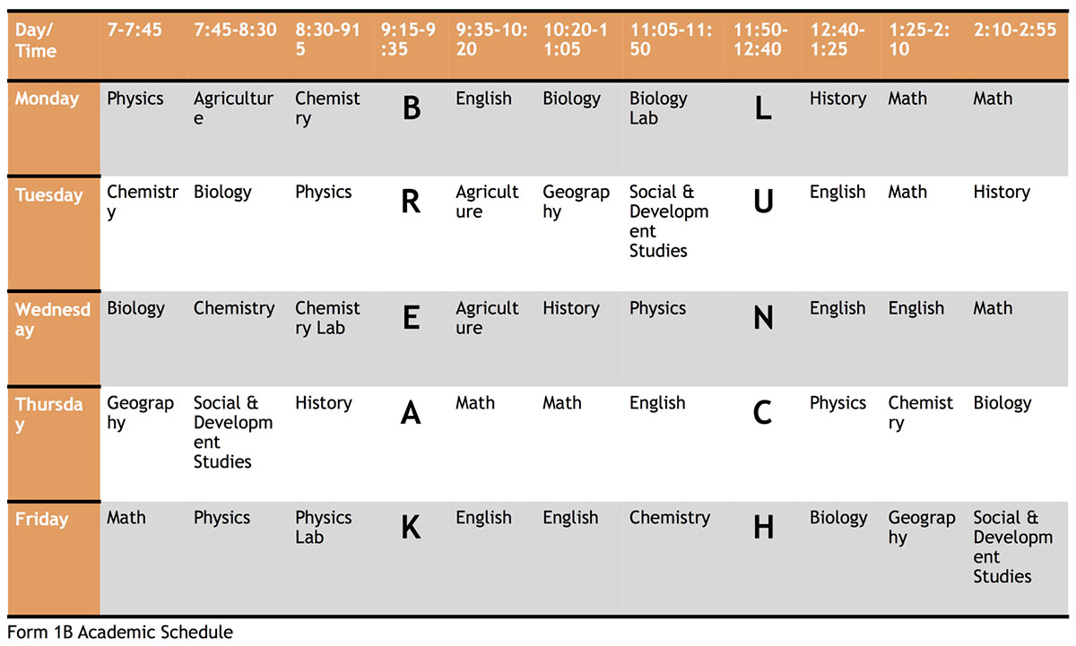 Wasambo HS Form 1B Academic Schedule