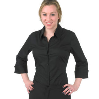 Black V neck womens dress shirt