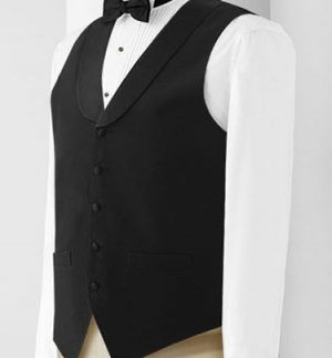 Women's black satin lapel waitress vest