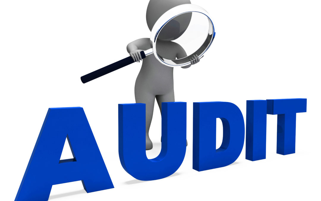 Audit with figure using magnifying glass