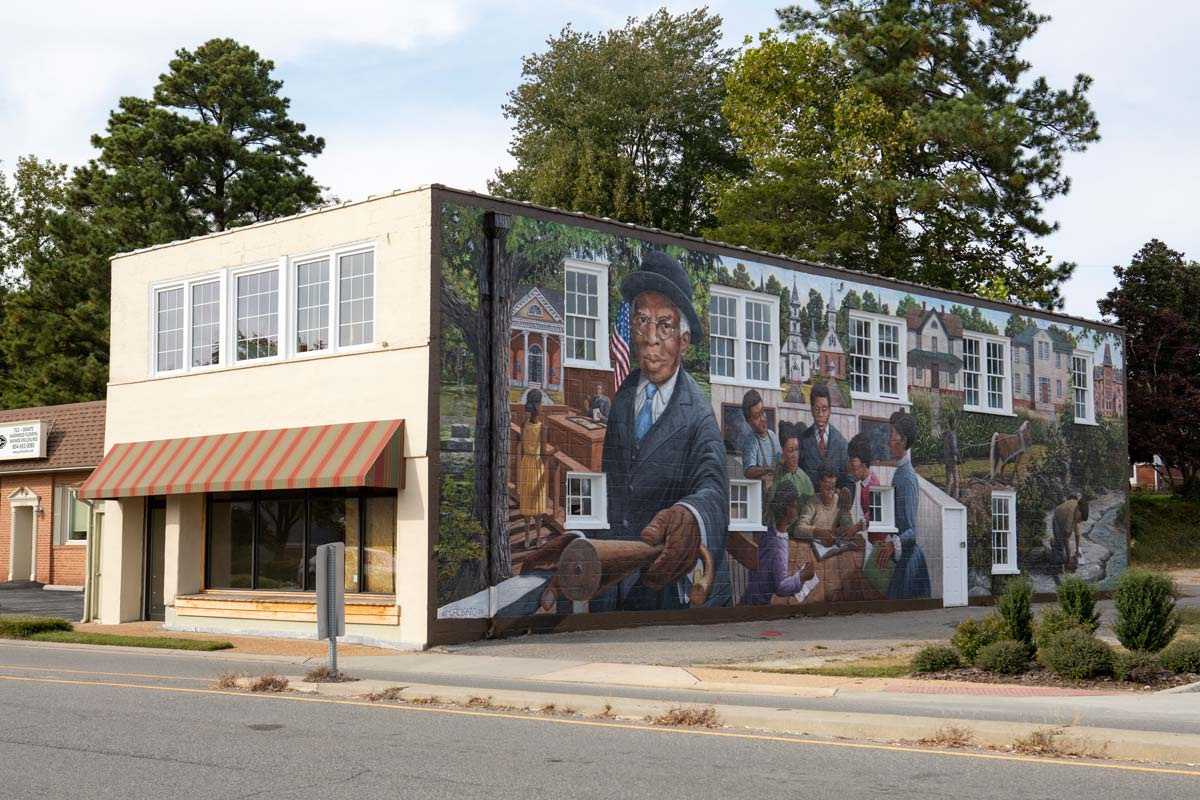 TC Walker mural on building in downtown Gloucester