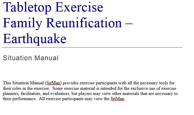 Family Reunification - Earthquake Tabletop Exercise