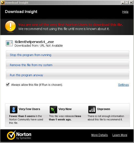 Norton Insight's Warning