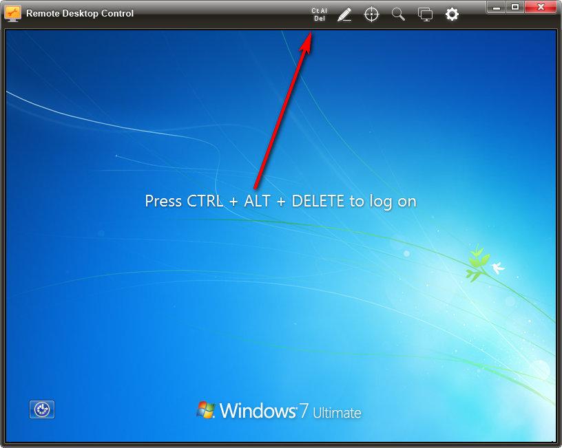 Press Ctrl-Alt-Delete to log on
