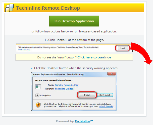 The Client is currently prompted to download the browser plugin to start the Techinline session