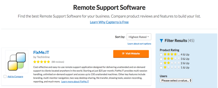 Highest rated remote support tool on Capterra