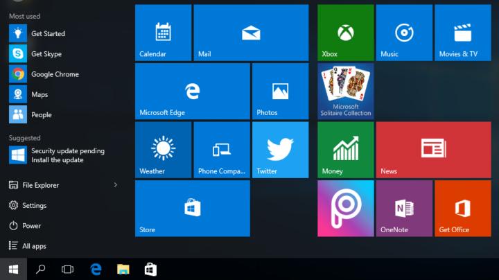 Start menu - Windows 10 default apps