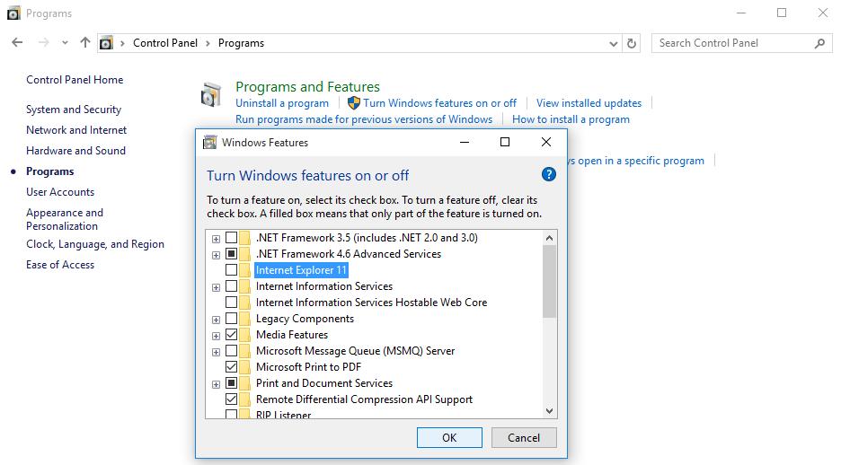 uninstall internet explorer edge windows 10