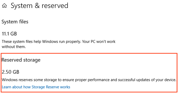 Disable Reserved Storage on Windows 10 1903