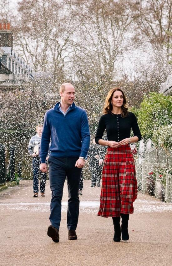 Christmas is Coming: Kate in Tartan Plaid Emilia Wickstead Skirt for Holiday Party