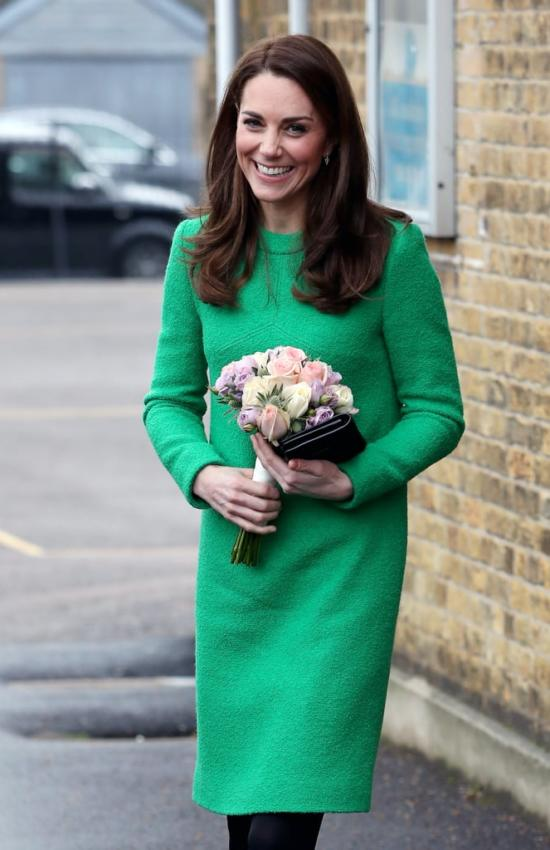 Kate Middleton in Green Eponine London Dress for School Visit