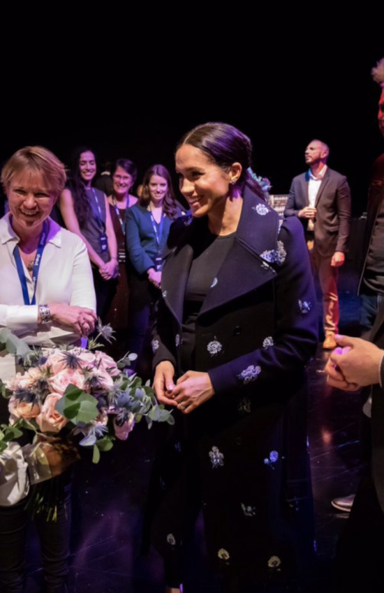 Meghan Markle Wears Stella McCartney Floral Coat for a Visit to Shout