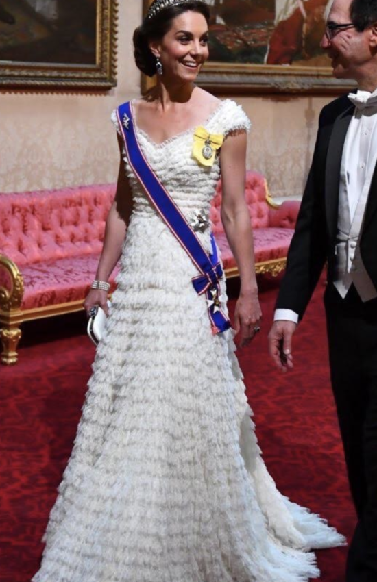The Duchess of Cambridge in Lover's Knot Tiara for State Banquet