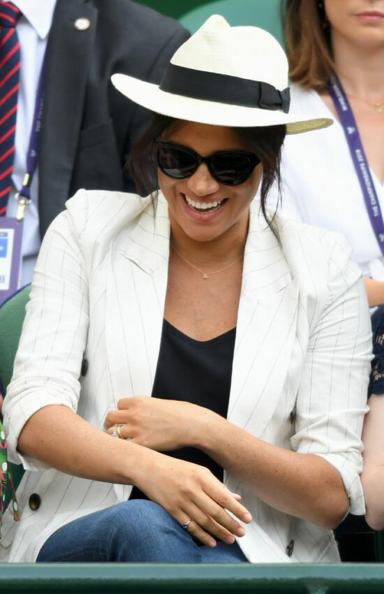 Meghan Markle at Wimbledon in Pinstripe Blazer and Jeans