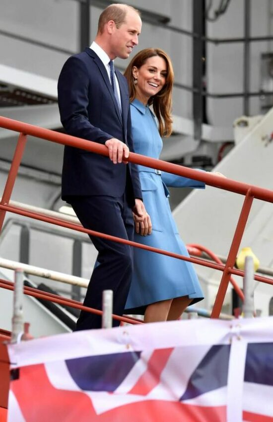 Kate Middleton in Blue Alexander McQueen Dress Coat for Boat Naming Ceremony