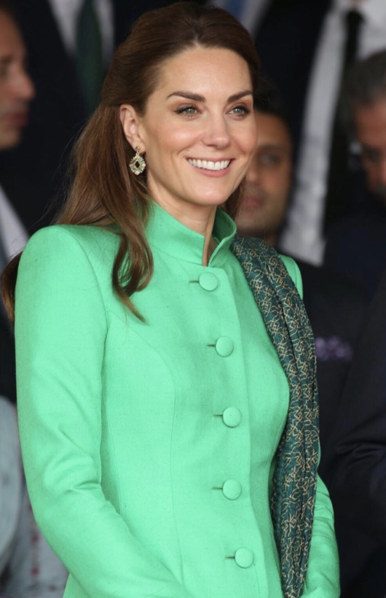 Kate Middleton in Green Tunic Coat for Day 2 of Royal Tour of Pakistan
