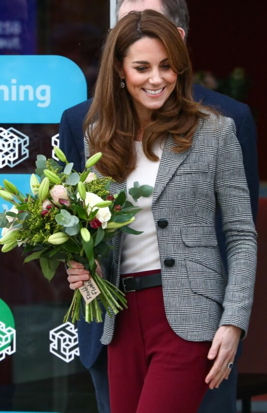 Duchess of Cambridge in Repeat Smythe Blazer for Visit to Shout Volunteer Event