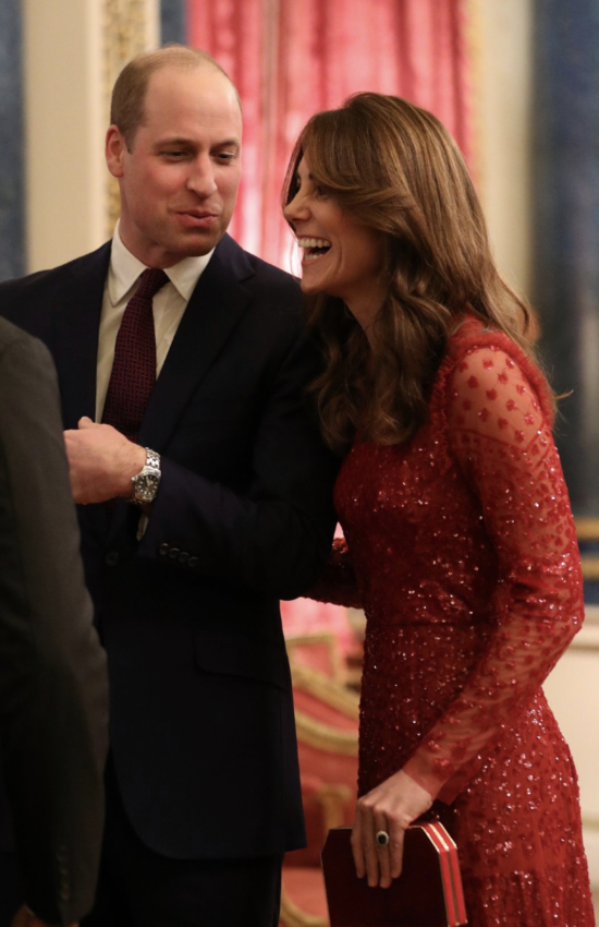 The Duchess of Cambridge in Red Sequin Needle & Thread Dress for Palace Reception